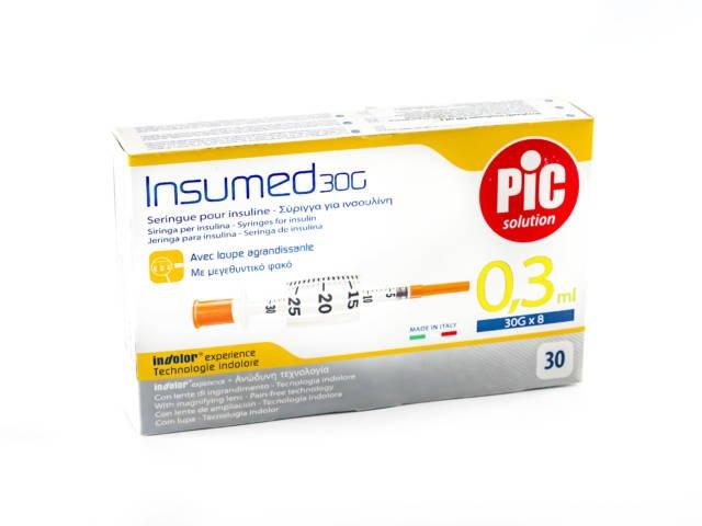 Strzykawki insulinowe INSUMED 0,3ml G30x8mm (30 szt.)
