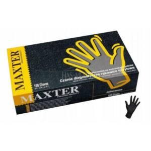 Rękawiczki nitrylowe bezpudrowe czarne Maxter rozm.S (100 szt.)